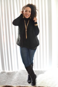"""3 Ways to Wear A Black Fur Vest"" OUTFIT DETAILS: https://thehoneygoldguru.com/2016/11/26/3-ways-to-wear-a-black-fur-vest/"